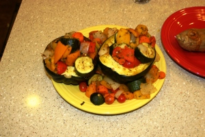 Acorn Squash with roasted vegetables.The way I eat now