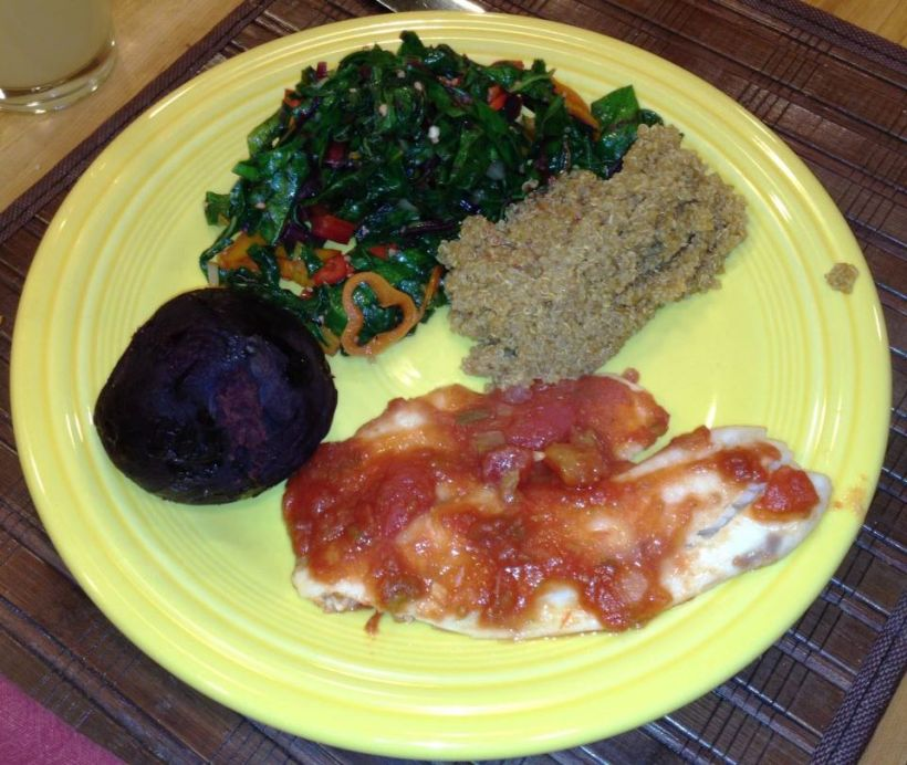 Quinoa made with vegetable broth, Swai with Salsa, Beet Greens with Swiss Chard and Sweet Peppers, and a Roasted Red Beet.  DELICIOUS!