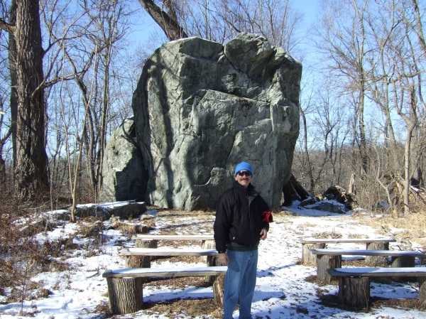 In front of the Glacial Erratic, Rockefeller Preserve, Sleepy Hollow, NY. 1/27/2013