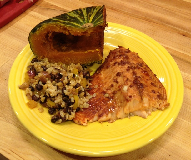 Kabocha, Baked Salmon, Mixed Grain Rice with Black beans....
