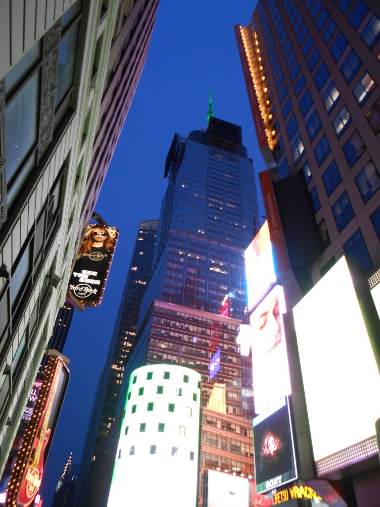 A small section of Times Square at night
