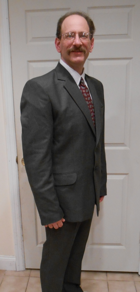 My new suit.  The sleeves need shortening.  Otherwise it fits beautifully