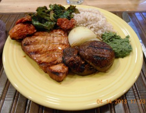 Grilled Tuna, Grilled Mushrooms, Saute' of kale and collard greens, Grilled onions with sun dried tomato, rosematta rice and coriander chutney,