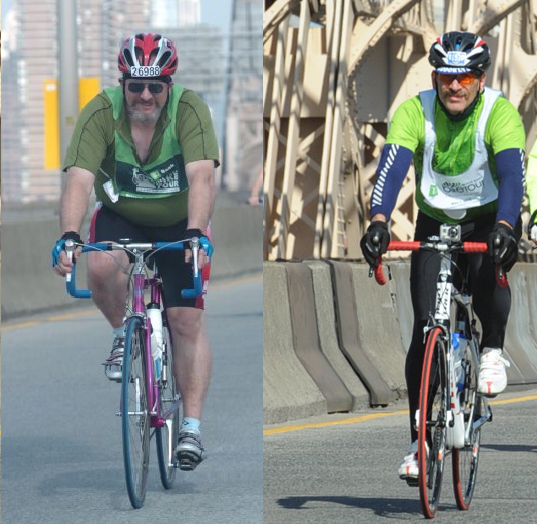 On the left is the 2010 tour as I cross the Queensboro Bridge.  260 pound sand my weight is on the way up. On the right is the 2013 Tour as I cross the Queensboro Bridge.  201 pounds and holding steady.