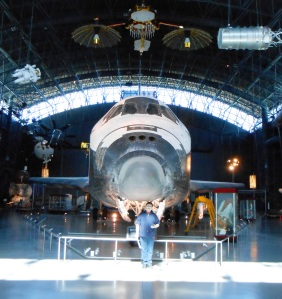 The Younger One in front of the Space Shuttle