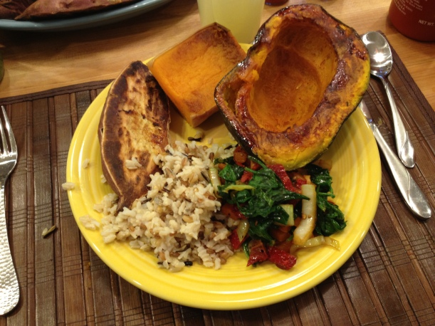 A typical dinner: Kabocha  and Butternut Squash, Brown Rice, mixed greens and a Sweet Potato