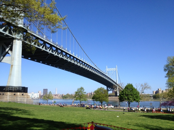 At the Astoria Park Rest Area, the Tri-Boro Bridge overhead...