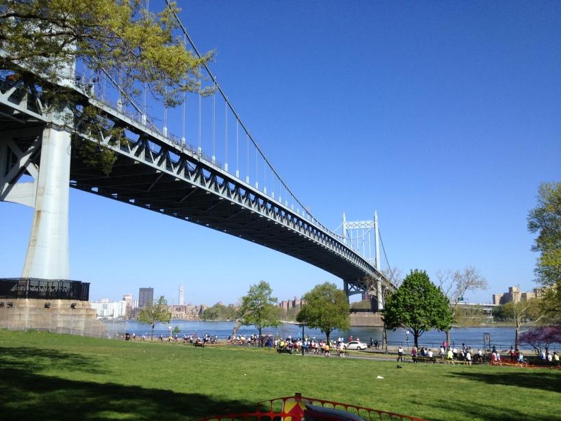 At the Astoria Park Rest Area, the Tri-Boro Bridge overhead...