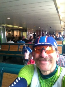 On the ferry after the ride.  Feeling fine....