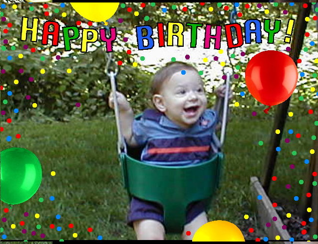 Kyle at One.  I made this picture to celebrate his first birthday.  He is playing in the new swing Grandma Suzan gave him.