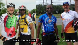 On the left: Last year Ride for Autism On the right: This years Ride for Autism.  Even 30 pounds make quite a difference.