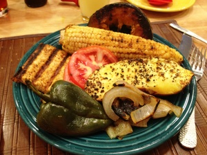 Grilled Tofu, sliced Jersey Tomato, Fresh JErsey Corn, Kabocha Squash, Sweet Potato, Grilled pepper and onion.  WHat a wonderful and nutrition packed meal....