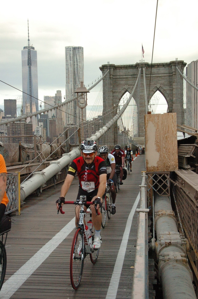Crossing the Bridge with the skyline of lower Manhattan in the background
