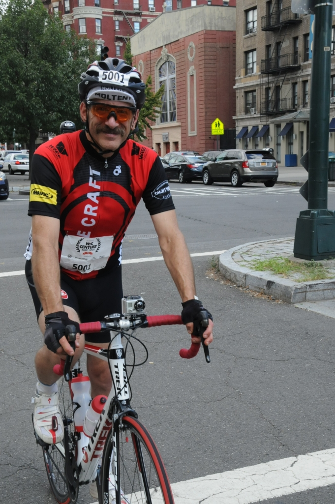 Crossing the finish line.  75-mile ride under my belt.