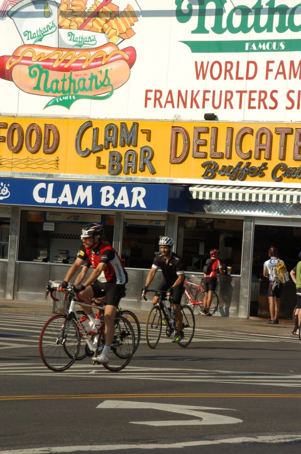 Nathans Famous Franks on Coney Island.  A World Famous destination.  MANY cyclists stopped for a dog and a shake.