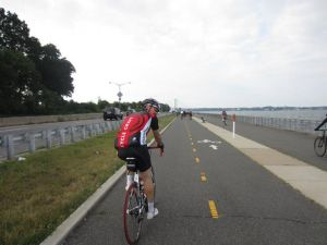 Riding along the Marina, approaching the Throgs Neck Bridge.