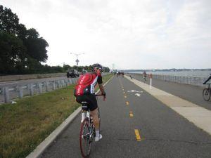 Riding along the Marina, approaching the Throgs Neck Bridge.