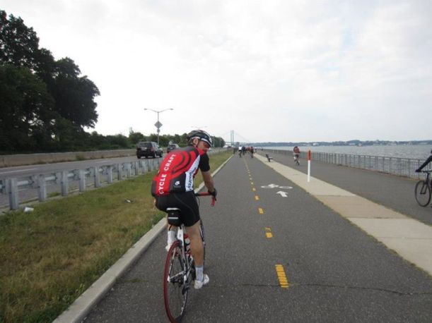 Riding along the Bayside Marina, approaching the Throgs Neck Bridge.