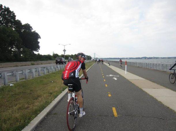Riding along the Bayside Marina, approaching the Throgs Neck Bridge.
