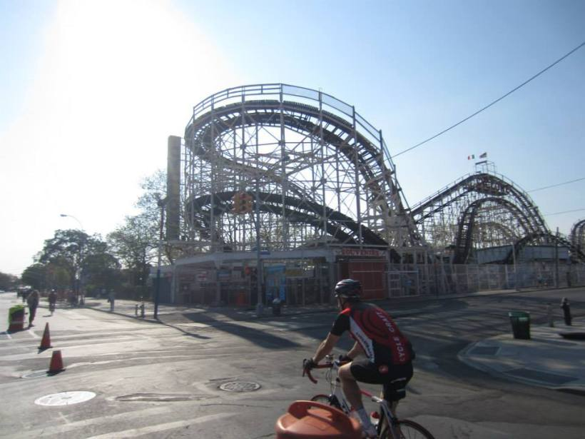 Passing the world famous CYCLONE ROLLER COASTER on Coney Island