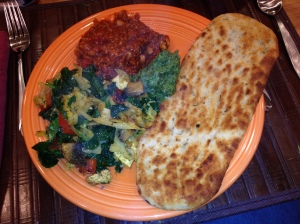 Tonights dinner.  Fairly typical.  Vegan Chili, stir fried veggies, naan and chutney